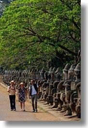 asia, cambodia, gates, people, south gate, statues, vertical, walking, photograph