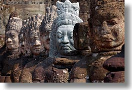 asia, cambodia, gates, heads, horizontal, south gate, statues, photograph