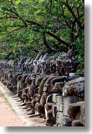 asia, cambodia, gates, heads, south gate, statues, vertical, photograph