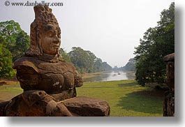 asia, cambodia, gates, horizontal, moat, south gate, statues, photograph