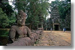 asia, cambodia, gates, horizontal, statues, victory, victory gate, photograph