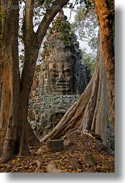 asia, cambodia, faces, gates, trees, vertical, victory, victory gate, photograph