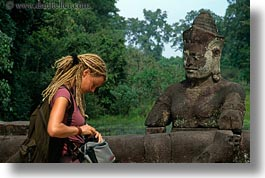 asia, cambodia, gates, horizontal, statues, victory gate, womens, photograph