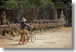 asia, bicycles, cambodia, gates, horizontal, pushing, victory gate, womens, photograph