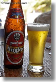 angkor, asia, beers, bottles, cambodia, glasses, vertical, photograph
