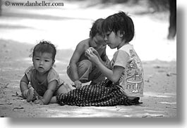 asia, babies, black and white, cambodia, childrens, dirt, horizontal, people, playing, photograph