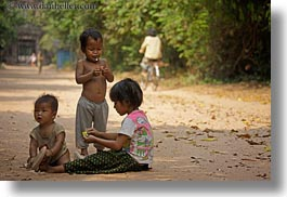 asia, babies, cambodia, childrens, dirt, horizontal, people, playing, photograph