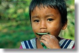 asia, boys, cambodia, eating, horizontal, leaves, people, photograph