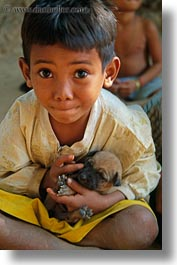 asia, boys, cambodia, people, puppies, vertical, photograph