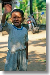 asia, boys, cambodia, people, vertical, waving, photograph