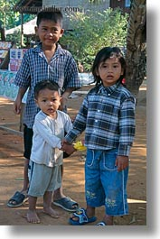 asia, boys, cambodia, childrens, people, threes, vertical, photograph