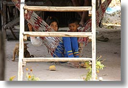 asia, behind, boys, cambodia, girls, hammok, horizontal, ladder, people, photograph