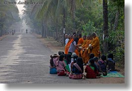 asia, cambodia, collecting, foods, horizontal, men, monks, people, photograph