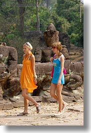 asia, cambodia, girls, people, statues, vertical, walking, womens, photograph