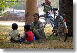 asia, bicycles, cambodia, childrens, horizontal, mothers, people, womens, photograph