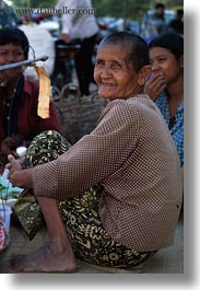 asia, cambodia, old, people, smiling, vertical, womens, photograph