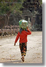 asia, cambodia, carrying, foods, people, vertical, womens, photograph