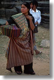 asia, cambodia, people, scarves, selling, vertical, womens, photograph