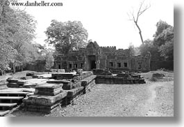 asia, black and white, cambodia, entry, gates, horizontal, preah khan, photograph