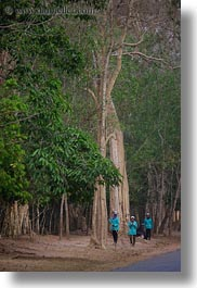 asia, cambodia, scenics, streets, sweepers, trees, vertical, photograph