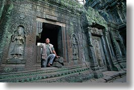 asia, bas reliefs, cambodia, horizontal, men, ta promh, windows, photograph