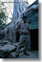 asia, cambodia, cambodian, guards, roots, ta promh, trees, vertical, photograph
