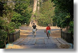 asia, bicyclists, bridge, cambodia, crossing, horizontal, transportation, photograph