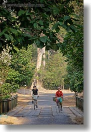 asia, bicyclists, bridge, cambodia, crossing, transportation, vertical, photograph
