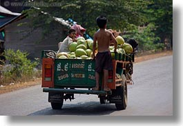asia, cambodia, childrens, coconuts, horizontal, transportation, trucky, photograph
