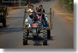 asia, cambodia, families, horizontal, tractor, transportation, photograph