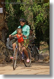 asia, babies, bicycles, cambodia, girls, transportation, vertical, photograph