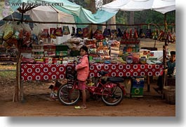asia, bicycles, cambodia, girls, horizontal, market, red, stahl, transportation, photograph