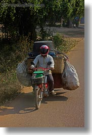 asia, bags, big, cambodia, carrying, motorcycles, transportation, vertical, photograph