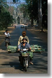 asia, bamboo, cambodia, logs, motorcycles, transportation, vertical, photograph