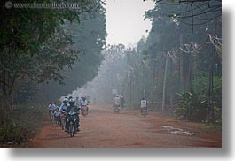 asia, cambodia, hazy, horizontal, lined, motorcycles, roads, transportation, trees, photograph