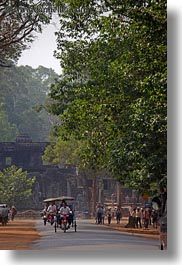 asia, cambodia, transportation, trees, tuk tuk, vertical, photograph