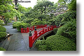 asia, bridge, fujiya hotel, gardens, hakone, horizontal, japan, red, slow exposure, photograph