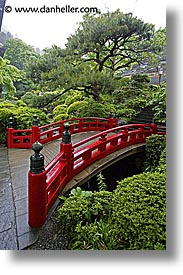 asia, bridge, fujiya hotel, gardens, hakone, japan, red, vertical, photograph