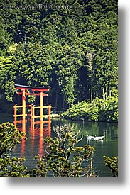 asia, boats, gates, hakone, japan, landscapes, torii, vertical, photograph