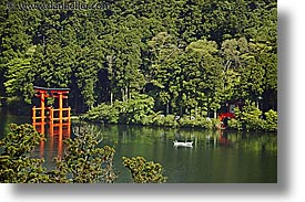 asia, boats, gates, hakone, horizontal, japan, landscapes, torii, photograph