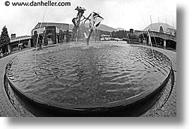 artsy, asia, black and white, fisheye lens, fountains, hakone, horizontal, japan, open air museum, photograph