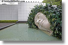 asia, big, hakone, heads, horizontal, japan, open air museum, water, photograph