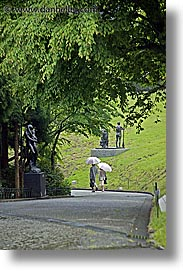 asia, hakone, japan, open air museum, umbrellas, vertical, walkers, photograph