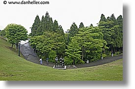 asia, hakone, horizontal, japan, open air museum, umbrellas, walkers, photograph