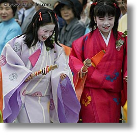 aoi matsuri festival, asia, courts, girls, japan, kyoto, maiden, square format, photograph