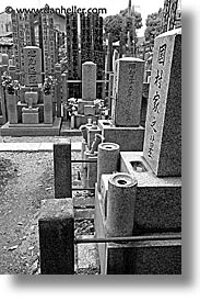 asia, black and white, graves, graveyard, japan, japanese, koto in, kyoto, vertical, photograph