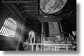 asia, black and white, horizontal, japan, koto in, kyoto, priests, temples, photograph
