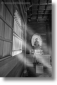 asia, beams, black and white, japan, koto in, kyoto, sun, temples, vertical, photograph