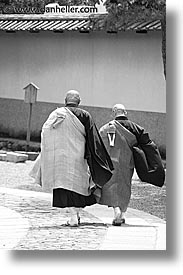 asia, black and white, japan, koto in, kyoto, priests, vertical, walking, photograph
