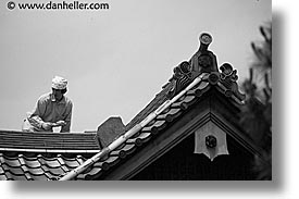 asia, horizontal, japan, koto in, kyoto, roofers, zen, photograph